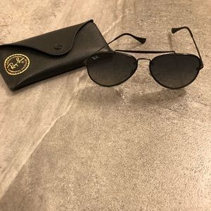 Ray Ban Black Aviators with Case
